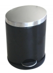 Овален метален кош с педал - черен 5 литра